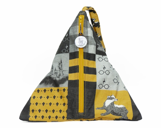 Hufflepuff Pride - Llexical Divided Sock Pouch - Knitting, Crochet, Spinning Project Bag