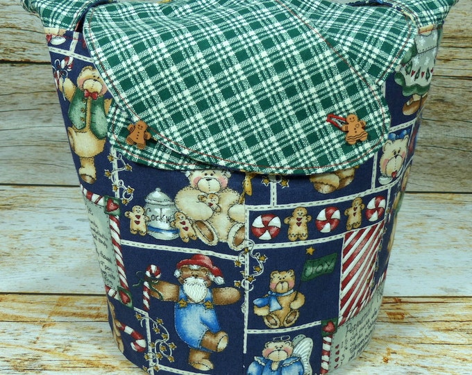 CLEARANCE Teddy Bear Gingermen -Medium Llayover Knitting Tote/Knitting, Spinning, Crochet Project Bag