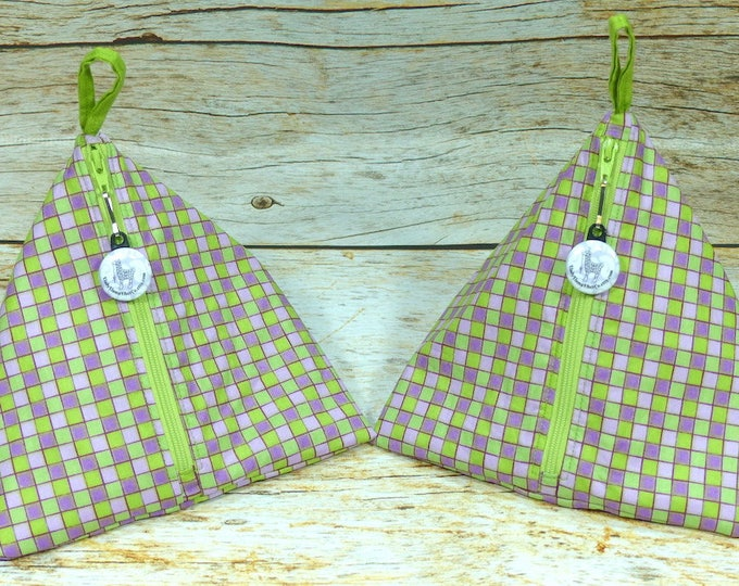 Notion - Green & Purple Check - Llexical Notions Pouch - Knitting, Crochet, Spinning Accessory Bag