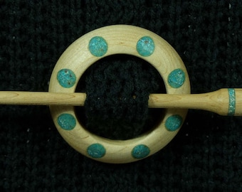 Llarissa Hand Turned Maple / Turquoise / Chrysocolla / Copper Shawl Pin Set