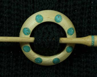 Llarissa Hand Turned Maple / Turquoise / Chrysocolla / Copper Wood Shawl Pin Set