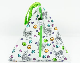 Elli White w/Green Swirl - Llexical Divided Sock Pouch - Knitting, Crochet, Spinning Project Bag