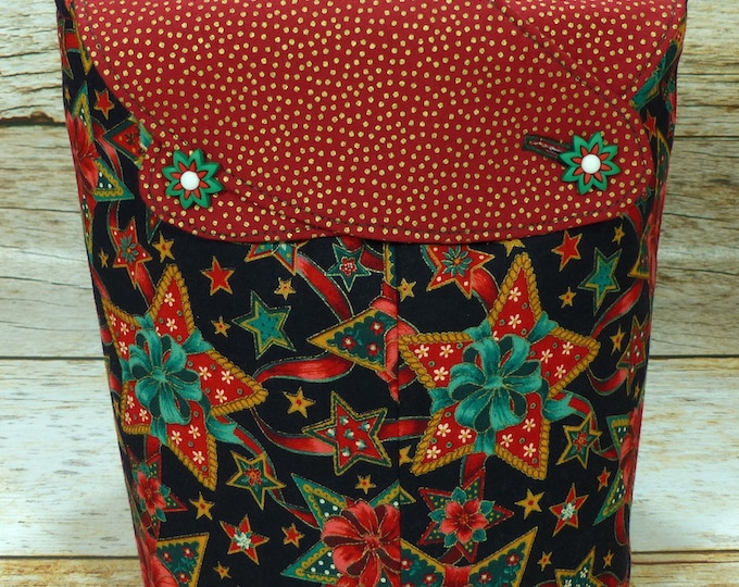 CLEARANCE Gingerbread Stars -Small Llayover Knitting Tote/ Knitting, Spinning, Crochet Bag