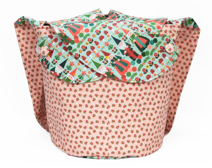 Knitting Gnomes -Large Llayover Tote/ Knitting, Spinning, Crochet Project Bag