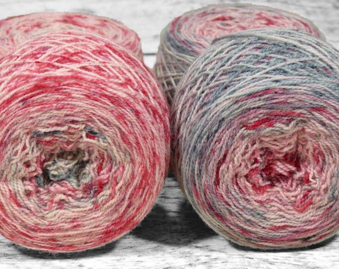 "Full "" Braaains "" - Llark SW BFL/Nylon Speckle Gradient Fingering Weight Yarn 100g Skein"