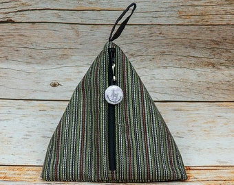Notion - Stripe Coal - Llexical Notions Pouch - Knitting, Crochet, Spinning Accessory Bag