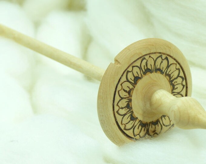 Lleto Hand-Turned Maple Pyrograph Drop Spindle / Top Whorl 34 Grams