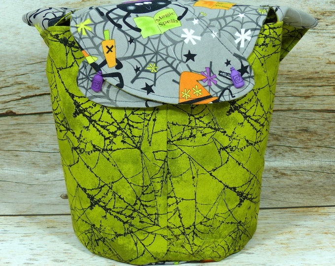 Spooky Spider Spells - Medium Llayover Knitting Tote / Knitting, Spinning, Crochet Project Bag