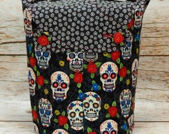 Sugar Skull & Small Chrysanthemum -Small Llayover Knitting Tote/ Knitting, Spinning, Crochet Bag