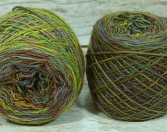 "Fraternal Sock Twins "" Artist's Palette 1 "" OOAK - Llark Handpainted Splatter Sock Yarn Set"