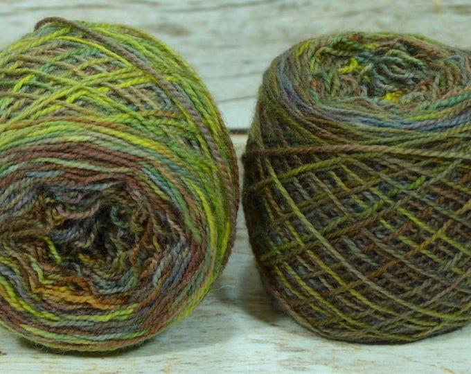 """CLEARANCE Fraternal Sock Twins """" Artist's Palette 1 """" OOAK - Llark Handpainted Splatter Sock Yarn Set"""