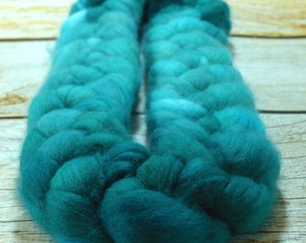 Emerald City/ Handpainted SW Merino Combed Top/ 4 oz.