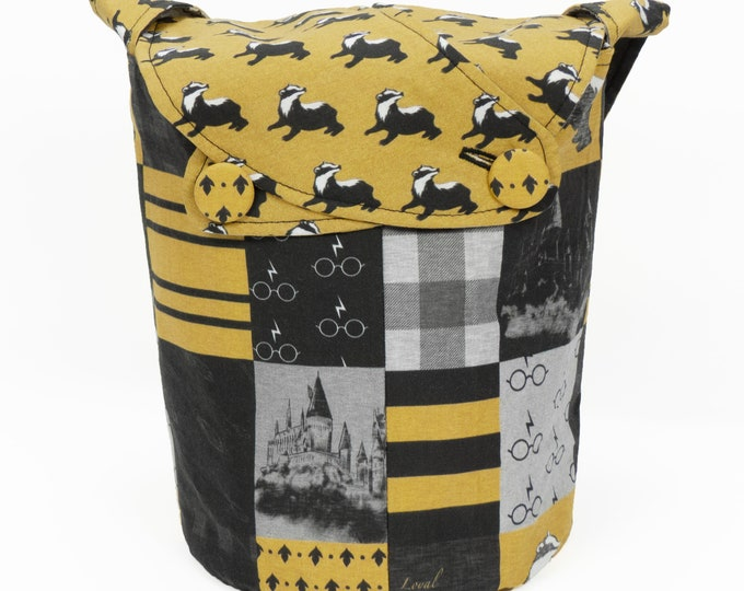 Hufflepuff Pride -Small Llayover Knitting Tote/ Knitting, Spinning, Crochet Bag