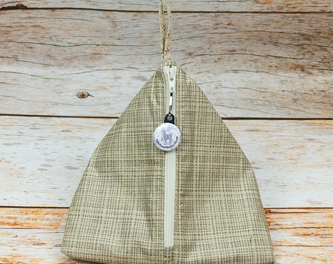 Taupe Woven - Llexical Notions Pouch - Knitting, Crochet, Spinning Accessory Bag
