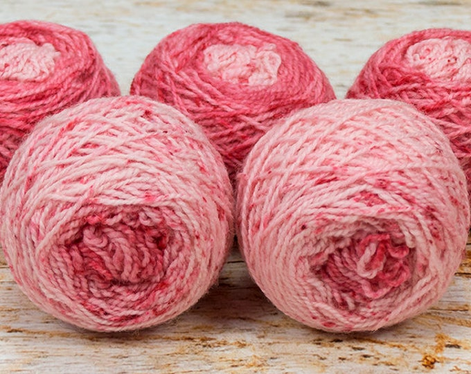"Wee "" Poinsettia "" -Llark Handpainted Speckle Dyed Fingering Weight Yarn Mini Skein"