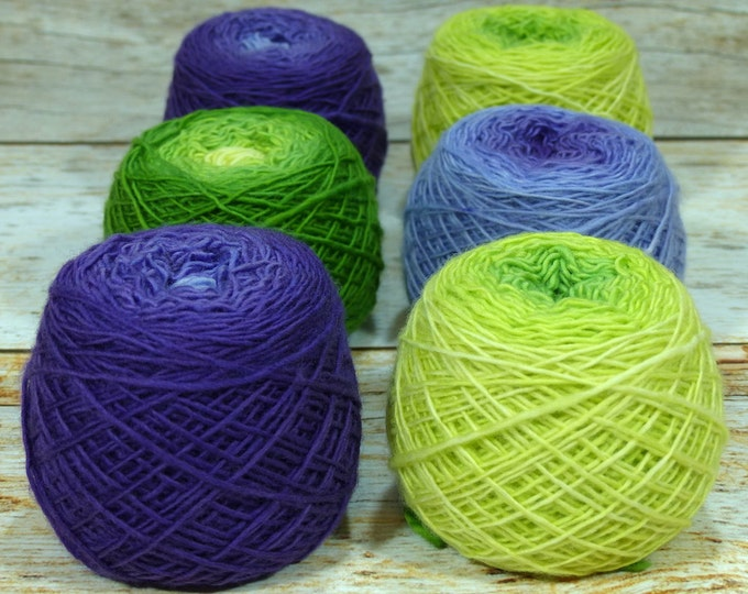 "Colorwork Set "" Rite Of Spring "" -Llift Handpainted Gradient Single Ply Yarn Fingering Weight"