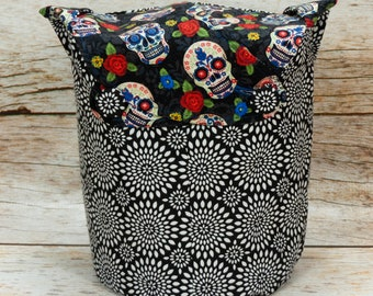 Sugar Skull & Chrysanthemum Burst -Small Llayover Knitting Tote/ Knitting, Spinning, Crochet Bag