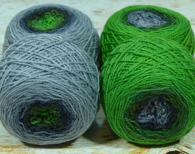 "Sock Twins "" Moss On Slate "" -Lleap Handpainted Gradient Sock Yarn Set"