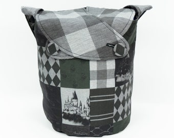 Slytherin Pride -Small Llayover Knitting Tote/ Knitting, Spinning, Crochet Bag