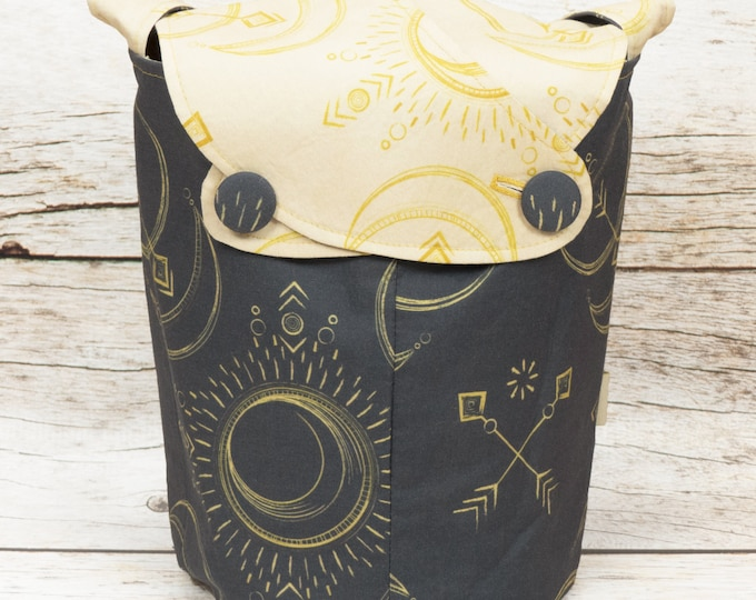 Solar Eclipse -Small Llayover Knitting Tote/ Knitting, Spinning, Crochet Bag