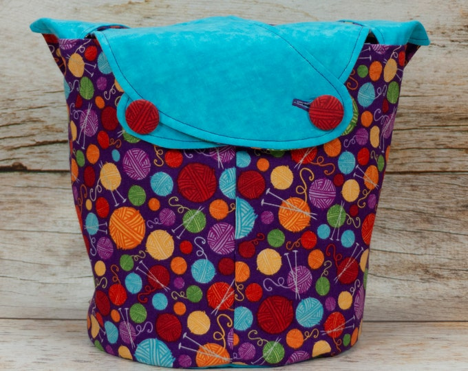 Yarn Stash Turquoise - Medium Llayover Knitting Tote / Knitting, Spinning, Crochet Project Bag