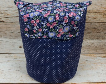 Garden Polka Dot -Small Llayover Knitting Tote/ Knitting, Spinning, Crochet Bag
