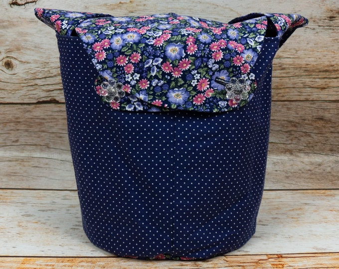 Garden Polka Dot - Medium Llayover Knitting Tote / Knitting, Spinning, Crochet Project Bag