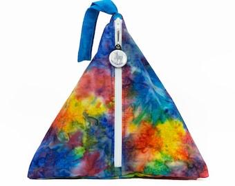 Rainbow Batik Blue- Llexical Divided Sock Pouch - Knitting, Crochet, Spinning Project Bag
