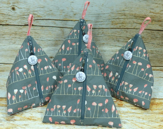 Notion - Poppies Grey - Llexical Notions Pouch - Knitting, Crochet, Spinning Accessory Bag