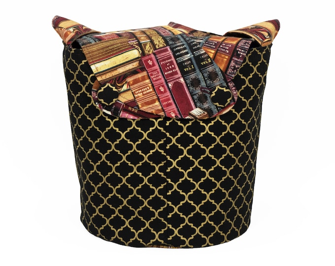Gilded Bookshelf Quatrefoil - Medium Llayover Knitting Tote / Knitting, Spinning, Crochet Project Bag