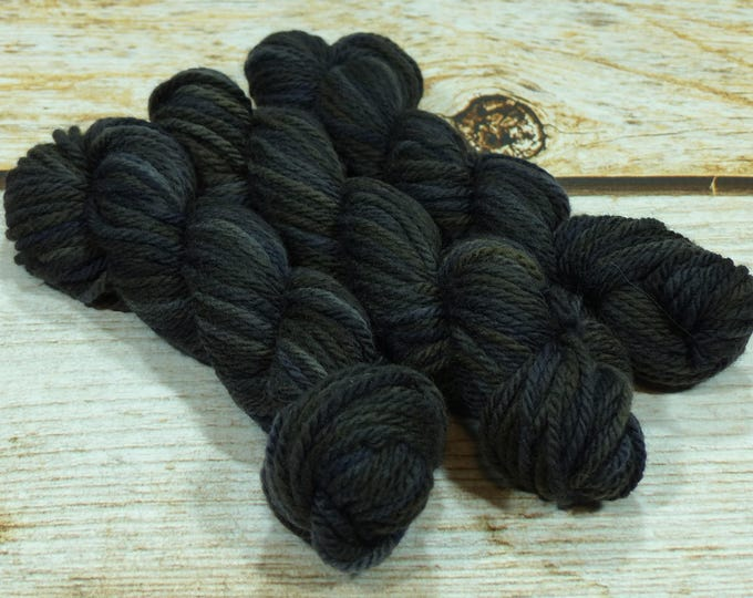 "Wee Llineage Worsted "" Clever Raven "" Semisolid Hand Dyed Yarn 20 g / 50 yd"