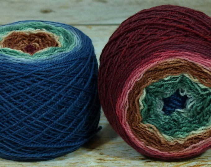 """Full """" Home For The Holidays """" -Lleap Handpainted Gradient Fingering Weight Yarn"""