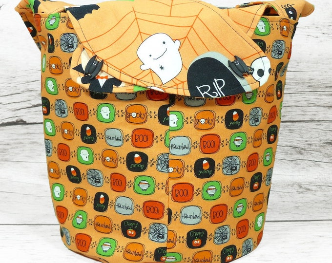 Spooktacular - Medium Llayover Knitting Tote / Knitting, Spinning, Crochet Project Bag