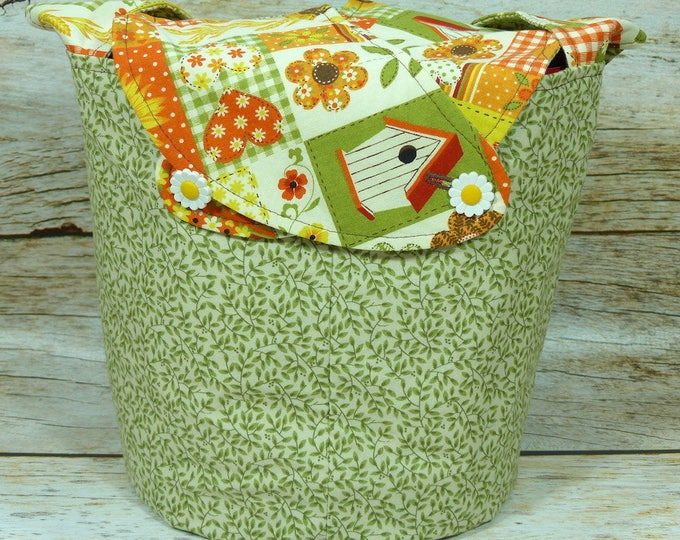 Sunflower Garden - Medium Llayover Knitting Tote / Knitting, Spinning, Crochet Project Bag