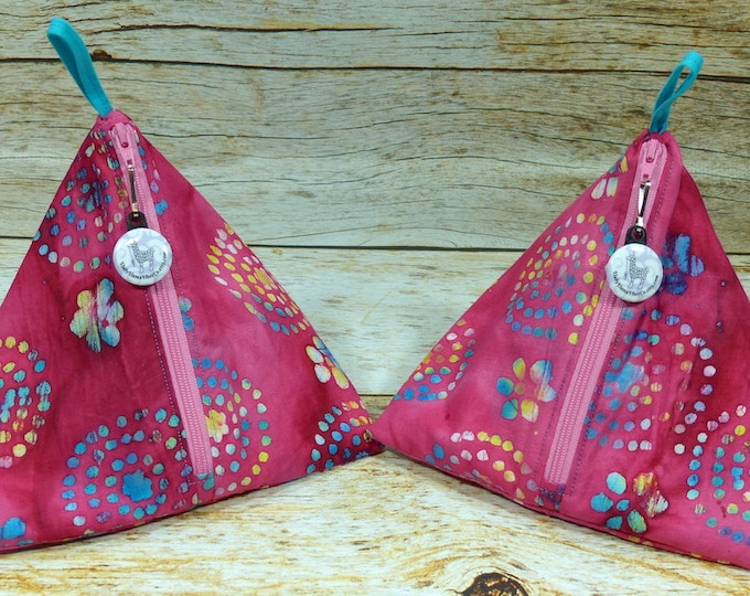 Pink & Aqua Batik - Llexical Notions Pouch - Knitting, Crochet, Spinning Accessory Bag