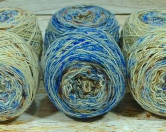"""Fraternal Sock Twins """" Bluebird On My Shoulder """" - Llark Handpainted Gradient Speckle Sock Yarn Set"""