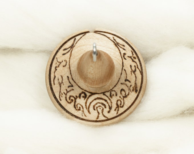 Lunar Goddess - Lluna Hand-Turned Maple Wood / Pyrograph Drop Spindle Medium Light -Top Whorl 20 Grams