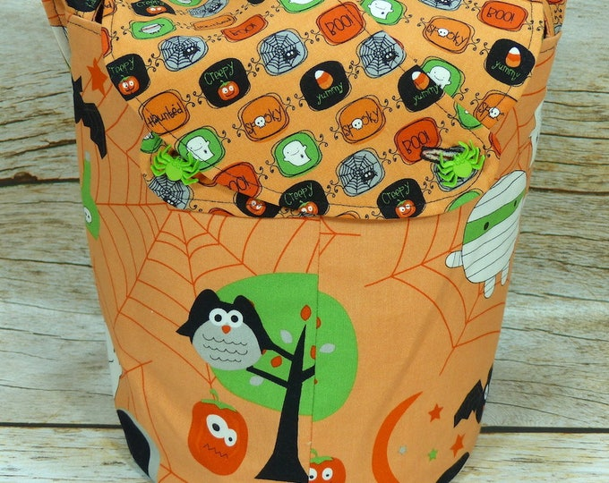 Spooktacular -Small Llayover Knitting Tote/ Knitting, Spinning, Crochet Bag