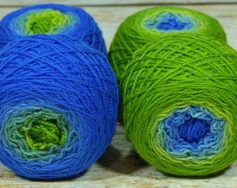 "Sock Twins "" Wash's Dinosaurs "" -Lleap Handpainted Gradient Sock Yarn Set"