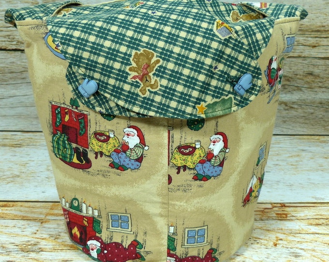 CLEARANCE Green Plaid Santa -Medium Llayover Knitting Tote/Knitting, Spinning, Crochet Project Bag