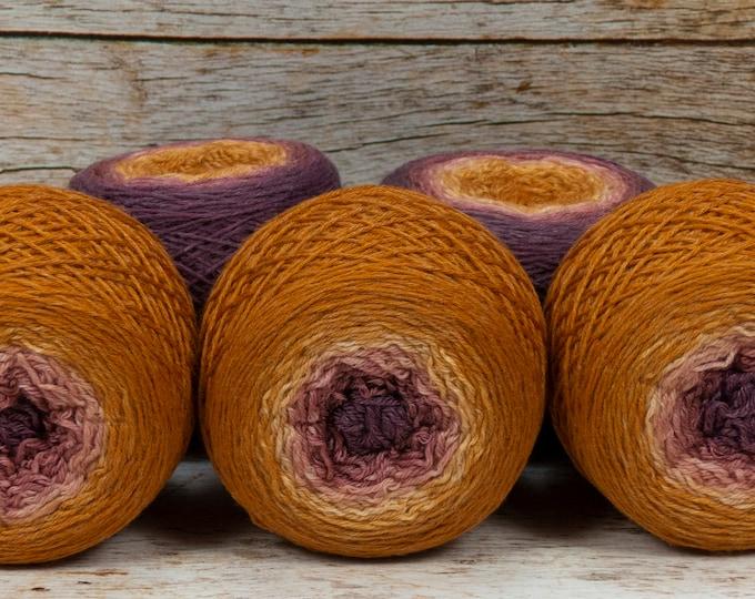 "Full "" Autumn Sunset "" - Lleaf Handpainted Gradient Fingering Weight Yarn"