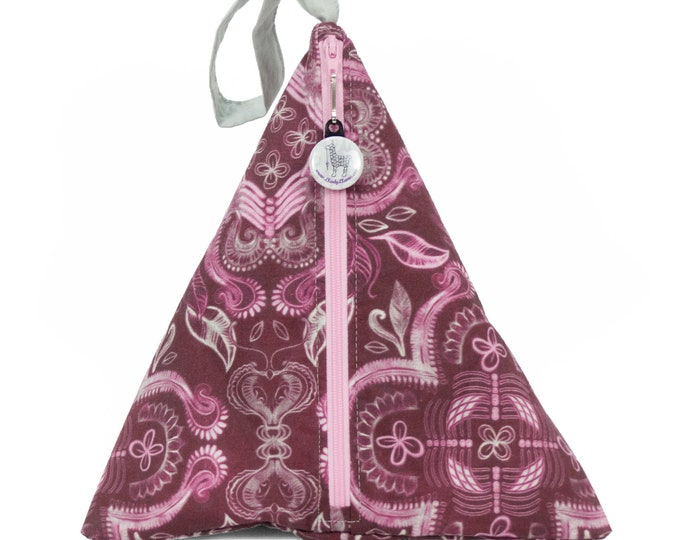 Mauve Damask - Llexical Divided Sock Pouch - Knitting, Crochet, Spinning Project Bag