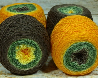 "Full "" Sunflower Field "" -Lleap Handpainted Gradient Fingering Weight Yarn"