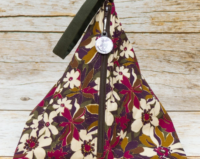 Fall Floral - Llexical Divided Sock Pouch - Knitting, Crochet, Spinning Project Bag