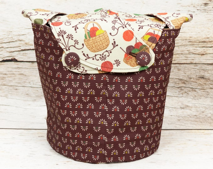 Knitting Basket - Medium Llayover Knitting Tote / Knitting, Spinning, Crochet Project Bag