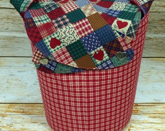 Home For The Holidays Red Plaid -Small Llayover Knitting Tote/ Knitting, Spinning, Crochet Bag