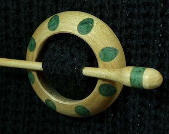 Llarissa Hand Turned Maple / Fuchsite Wood Shawl Pin Set