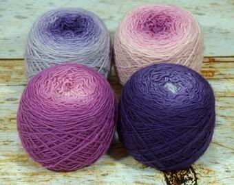 "Colorwork Set "" Gram's Garden "" - Llift SW Merino Handpainted Gradient Single Ply Yarn Fingering Weight"
