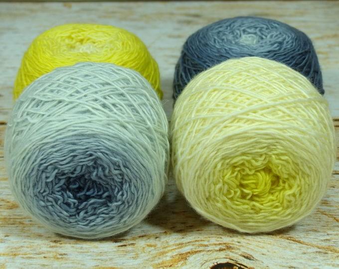 "Colorwork Set "" 50% Chance Of Precipitation "" - Llift SW Merino Handpainted Gradient Single Ply Yarn Fingering Weight"