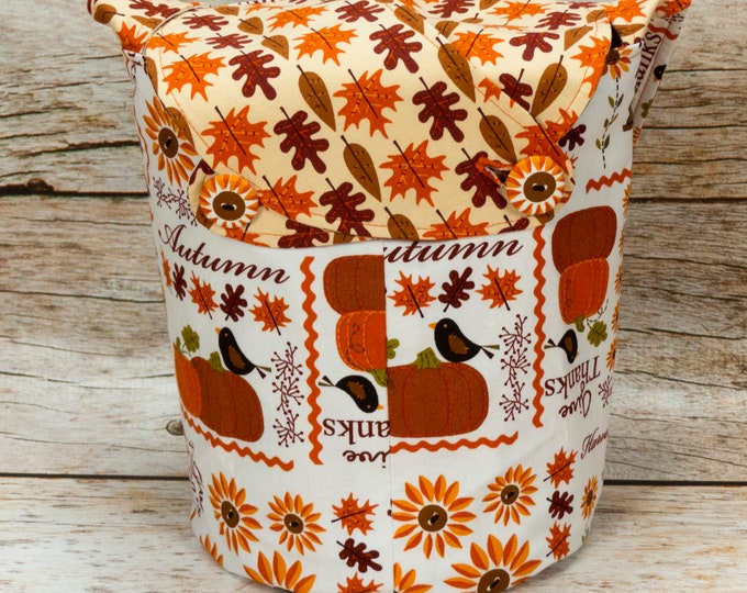 Give Thanks -Small Llayover Knitting Tote/ Knitting, Spinning, Crochet Bag